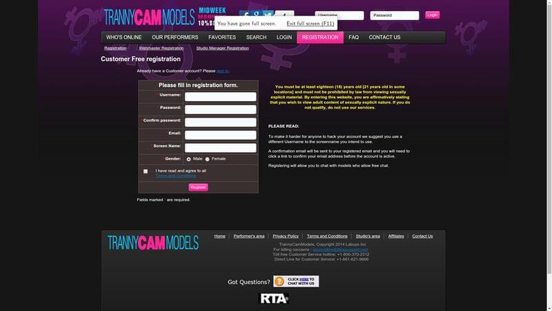 Registration at TrannyCamModels.com