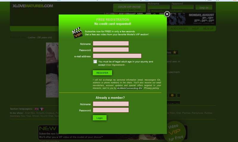 Register to this mature webcam site