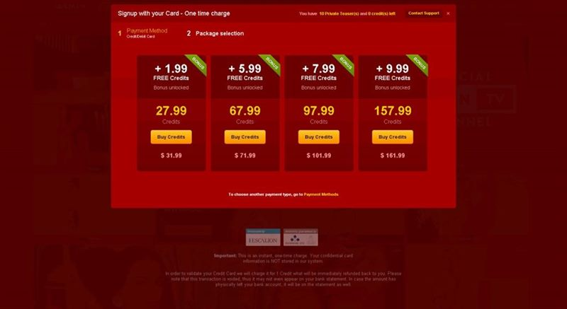 Credit packages on LiveJasmin.com web cams