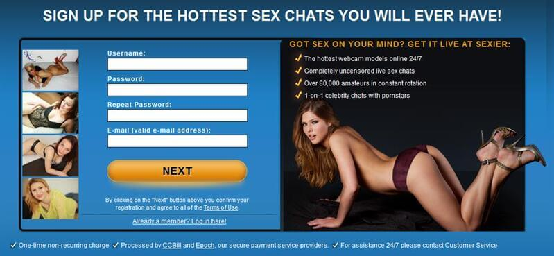 Registration to Sexier.com is very simple
