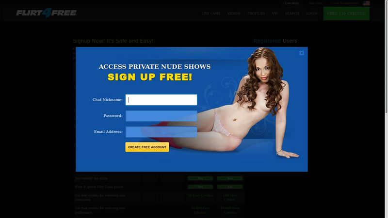 Registration at Flirt4Free